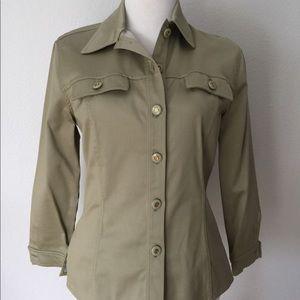 St. John Sport Sage Green Button Shirt Sz P